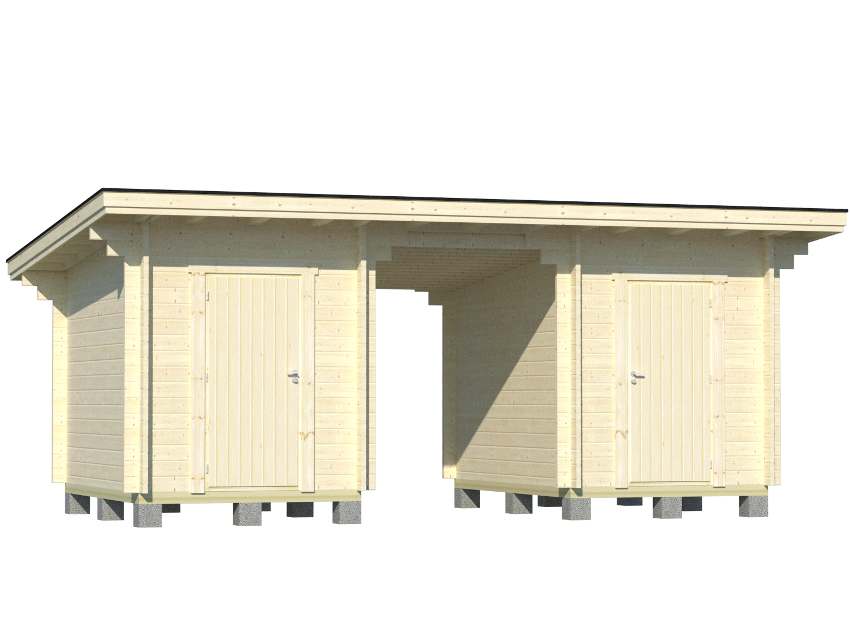 Pulpettikattoinen parilato 2x6m2 2kpl 9x19 varastonovi