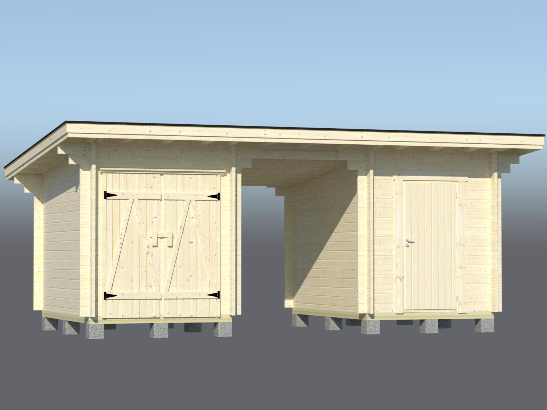 Pulpettikattoinen parilato 2x6m2 paneeliovi ja varastonovi